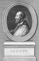 Portrait of Ludovico Ariosto (engraving) (b/w photo) mural wallpaper thumbnail