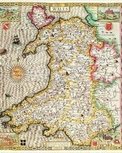 Wales, engraved by Jodocus Hondius (1563-1612) from John Speeds Theatre of the Empire of Great Britain, published by John Sudbury and George Humble, 1611-12 (hand coloured copper engraving) mural wallpaper thumbnail