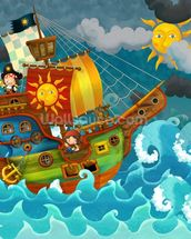 Pirate Ship mural wallpaper thumbnail