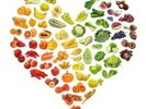 Heart Shape of Fruits and Veg wall mural thumbnail