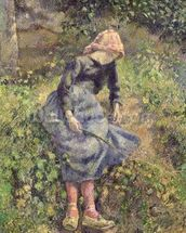 Girl with a Stick, 1881 (oil on canvas) wallpaper mural thumbnail