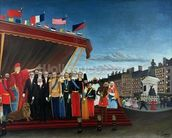 The Representatives of Foreign Powers Coming to Salute the Republic as a Sign of Peace, 1907 (oil on canvas) mural wallpaper thumbnail