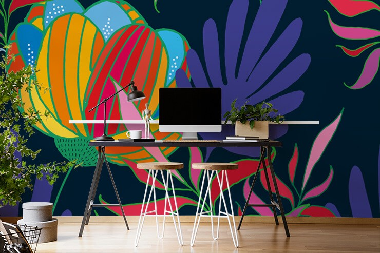 bold and bright flowers on dark background wallpaper in home office
