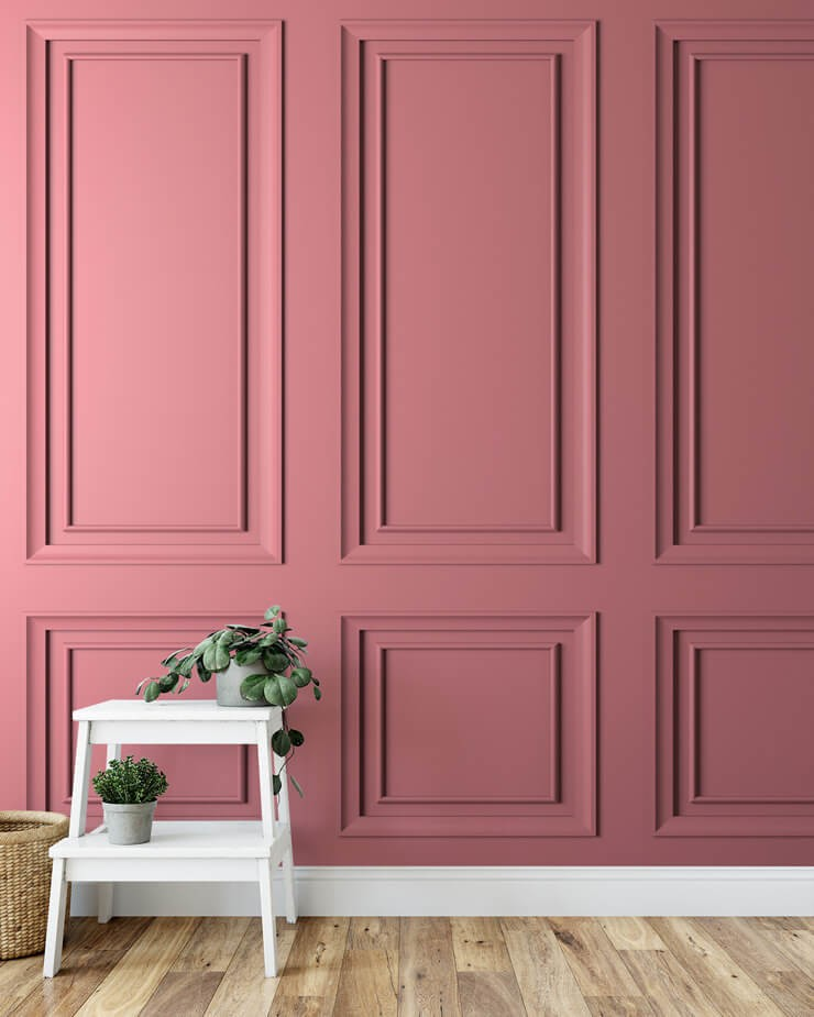 3D effect pink panel wallpaper with small white ladders with plant on