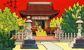 Japan Vintage - Illustration Of A Shrine In A Garden mural wallpaper thumbnail