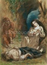 Lelia in the Cave, from Lelia by George Sand (1804-76) c.1852 (pastel on paper) mural wallpaper thumbnail