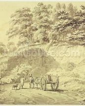 Man with Horse and Cart Entering a Quarry, c.1797 (graphite & grey wash on paper) wallpaper mural thumbnail