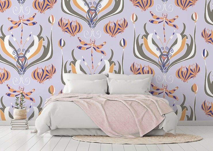 pastel oranges and blues nature inspired pattern wallpaper in romantic bedroom
