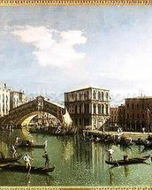 The Rialto Bridge, Venice (oil on canvas) wall mural thumbnail