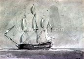A ship under Sail mural wallpaper thumbnail