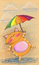 Cat and Rain wall mural thumbnail