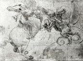 Battle between a Rider and a Dragon, c.1482 (stylus underdrawing, pen and brush on paper) mural wallpaper thumbnail