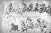 Preparatory drawing for the Last Supper (sepia ink on linen paper) wall mural thumbnail