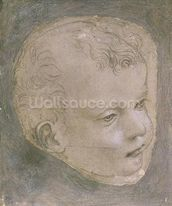 Head of a Child (pencil on paper) mural wallpaper thumbnail