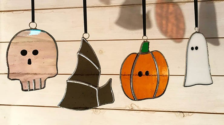 skull, bat, pumpkin and ghost glass ornaments