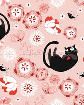 Floral - Cats and Flowers mural wallpaper thumbnail