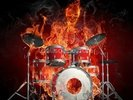 Drummer on Fire wall mural thumbnail