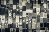 Music Speakers Wall Monochrome wall mural thumbnail