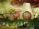Toad Stool House wall mural thumbnail