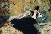 The Lady with Fans, Portrait of Nina de Callias (1844-84) c.1873-74 (oil on canvas) wall mural thumbnail