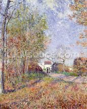 A Corner of the Woods at Sablons, 1883 (oil on canvas) wall mural thumbnail