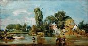 Flatford Mill, c.1810-11 (oil on panel) mural wallpaper thumbnail