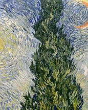 Road with Cypresses, 1890 (oil on canvas) (detail of 3752) wall mural thumbnail