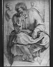 The Prophet Jeremiah, after Michangelo Buonarroti (pierre noire & red chalk on paper) wallpaper mural thumbnail
