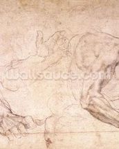 Studies of hands and an arm (black chalk on paper) (verso) mural wallpaper thumbnail