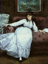 The Rest, portrait of Berthe Morisot (1841-95), 1870 (oil on canvas) mural wallpaper thumbnail