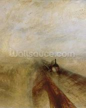 Rain Steam and Speed, The Great Western Railway, painted before 1844 (oil on canvas) (detail of 4053) wall mural thumbnail