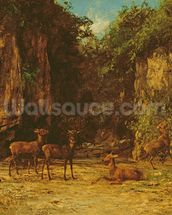 Herd of Red Deer at Dusk (oil on canvas) mural wallpaper thumbnail
