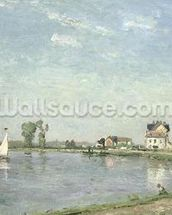 At the Rivers Edge, 1871 (oil on canvas) wall mural thumbnail
