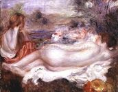 Bather reclining and a young girl doing her hair, 1896 wallpaper mural thumbnail