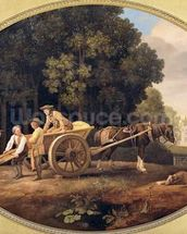 Labourers, 1781 (enamel on Wedgwood biscuit earthenware) mural wallpaper thumbnail