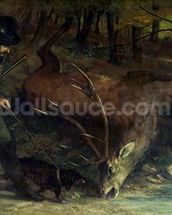 The Death of the Stag, 1859 (oil on canvas) wallpaper mural thumbnail