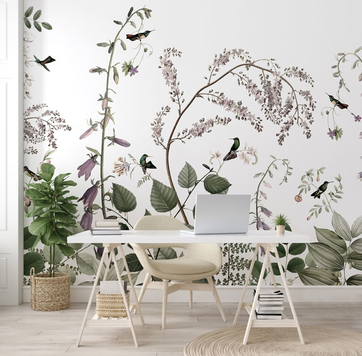 green and purple leafy jungle and hummingbirds wallpaper in trendy white office