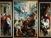 The Martyrdom of St. Stephen, c.1617 (oil on panel) mural wallpaper thumbnail