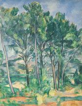 The Aqueduct (Montagne Sainte-Victoire seen through Trees), c.1885-87 (oil on canvas) mural wallpaper thumbnail