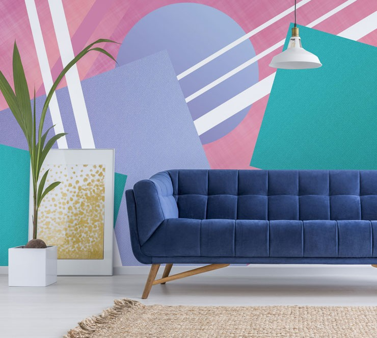 bahaus bright pastel shapes mural in trendy lounge