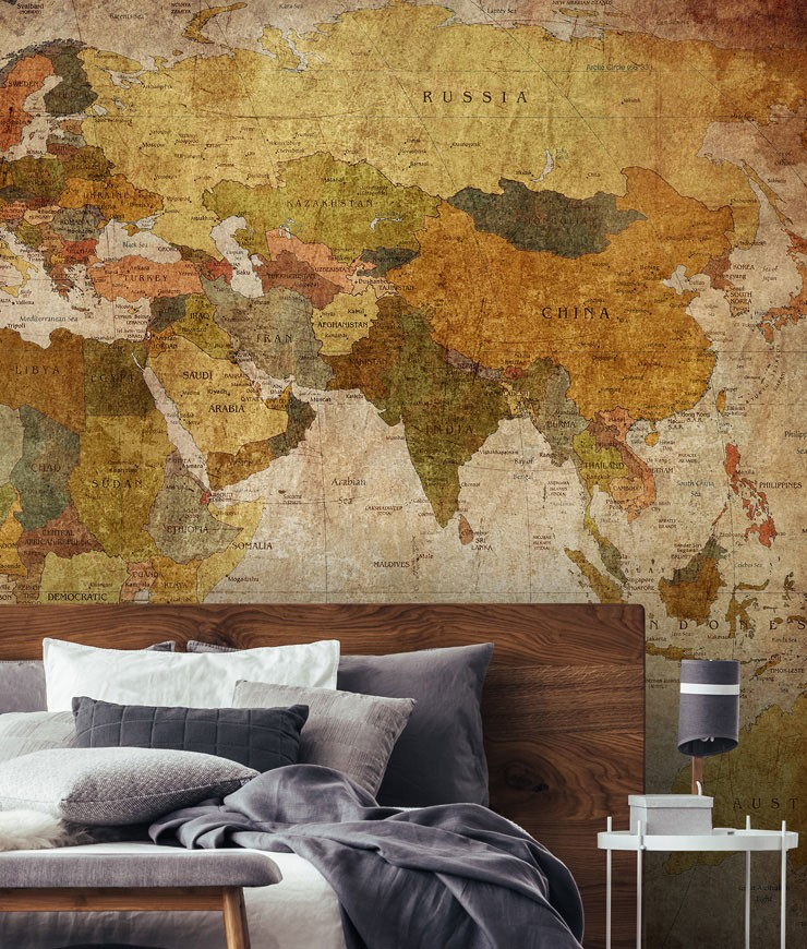 vintage map in guest bedroom