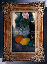Flowers and fruits, c.1880 (oil on canvas) (see also 287552) mural wallpaper thumbnail