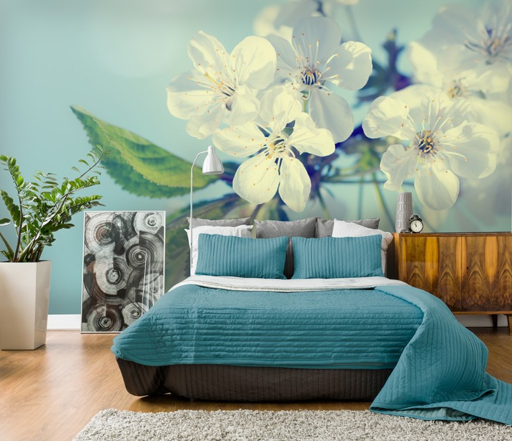 Blue Blossom Wallpaper In Bedroom