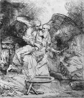 The Sacrifice of Abraham, 1645 (etching) (b/w photo) wall mural thumbnail
