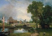 Dedham Lock and Mill, 1820 (oil on canvas) wallpaper mural thumbnail