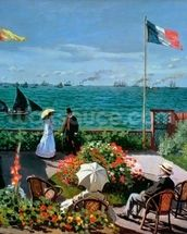 The Terrace at Sainte-Adresse, 1867 (oil on canvas) mural wallpaper thumbnail