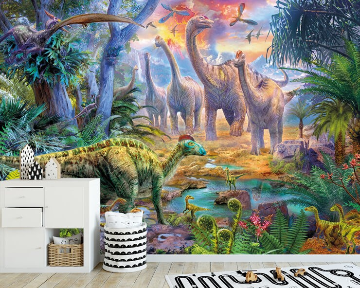 dinosaur illustration in child's bedroom with black and white storage and playmat