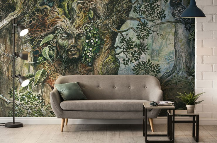 merlin tree wallpaper in trendy living room