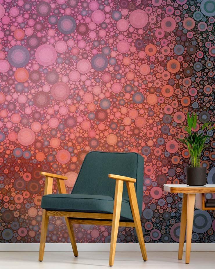 circle-wallpaper-in-living-room