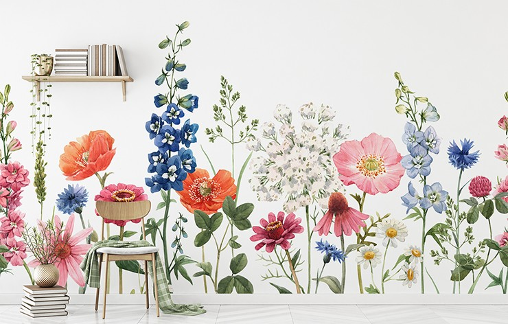 white background with colourful illustrated flowers wall mural in minimalist office